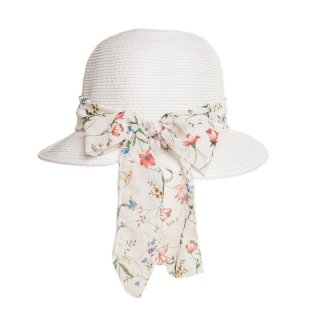Straw hat for ladies with floral white scarf band available for wholesale purchase