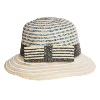 Ladies short brim stripe hat with bow available for wholesale purchase from hat supplier SSP Hats