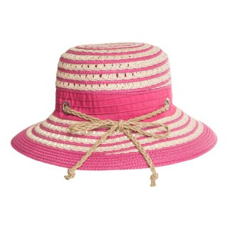 Pink straw hat with self colour band available for wholesale purchase from hat supplier