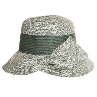 Wholesale ladies straw hat with bow detail in green