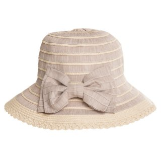 Ladies mixed straw hat with large bow in beige available for wholesale purchase from hat supplier SSP Hats