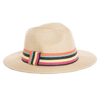 Wholesale ladies fedora straw hat with coloured stripe band