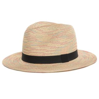 Wholesale ladies multi coloured straw fedora hat with black band