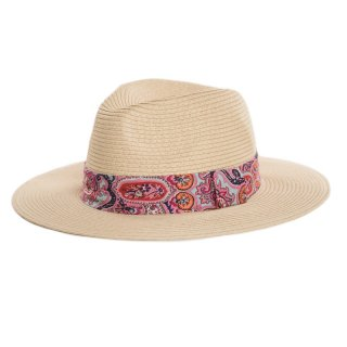 Bulk straw fedora with red paisley print band for ladies