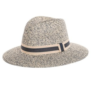 Bulk grey straw fedora hat with ribbon band