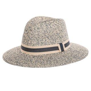 Bulk grey straw fedora hat with ribbon band
