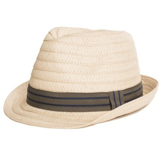 Wholesale straw trilby with stripe band for men