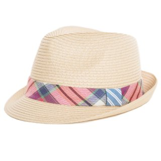 Bulk straw trilby with red check band