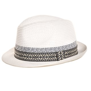 Mens bulk white straw trilby with detail band