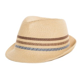 Wholesale mens straw trilby with three striped band in beige
