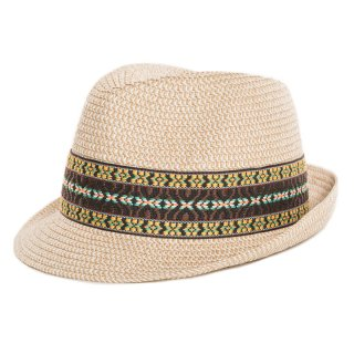 Unisex bulk straw trilby with brown pattern band