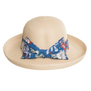 Bulk straw hats featuring blue floral band and turn up brim