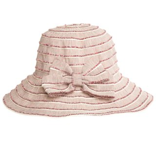 Bulk pink straw wide brim hat with bows