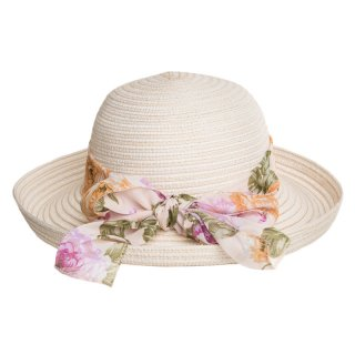 Bulk ladies straw hat with turn up brim and scarf band