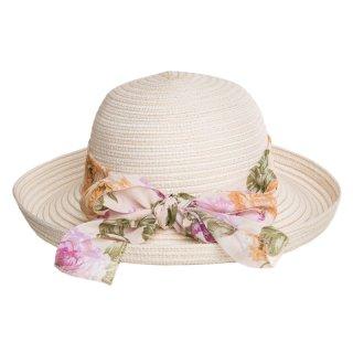 Ladies straw hat with turn up brim/ scarf band