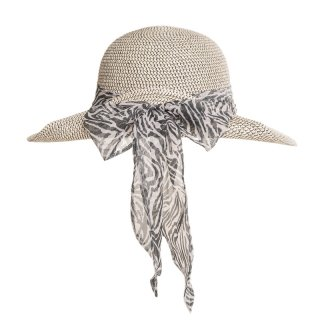 Bulk ladies straw hat with blue scarf band
