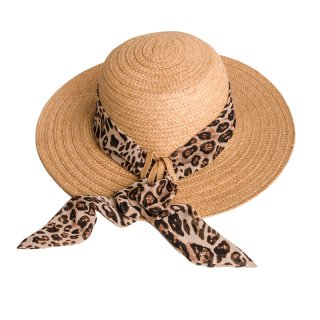 Bulk ladies straw hat with animal print scarf