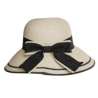 Bulk ladies white straw hat with ribbon band