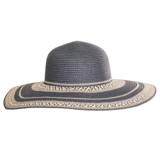 Blue ladies straw hat in blue with patterned brim