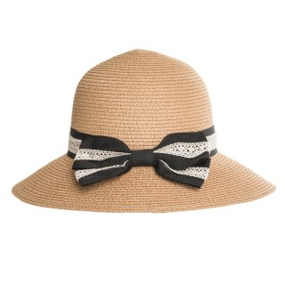 Bulk ladies beige straw hat with detail bow and band