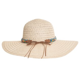 Ladies straw hat with detail band available for wholesale purchase