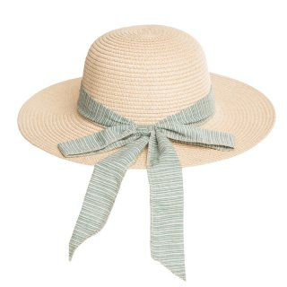 Wholesale ladies wide brim straw with pinstripe green scarf band