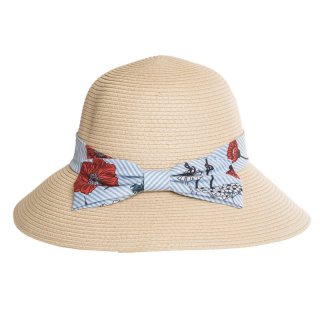 Bulk ladies straw hat with light blue floral and striped band