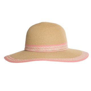 Bulk ladies pink straw wide brim hat with patterned band and brim