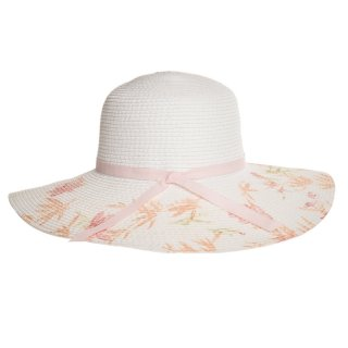 Ladies wide brim straw hat with floral print brim available for wholesale purchase
