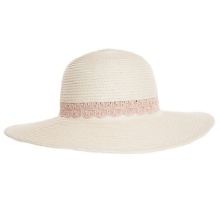 Ladies wide brim straw hat with detailed pink band available for wholesale purchase from hat supplier SSP Hats