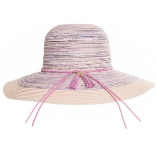 Ladies wide brim pink coloured straw hat with tassel band available for wholesale purchase from hat supplier