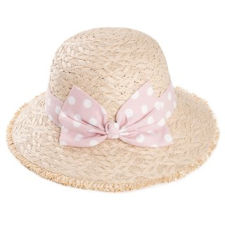 Wholesale ladies straw short brim with pink spotty band