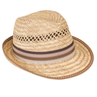 Wholesale mens straw trilby with brown striped band