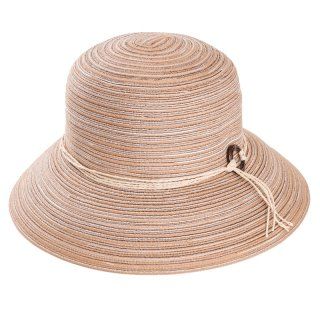 Wholesale ladies natural crushable straw hat with detailed band