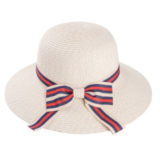 Wholesale ladies short brim straw hat with red and white ribbon band/bow