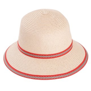 Wholesale ladies short brim straw hat with red band