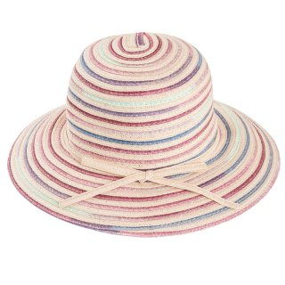 Wholesale ladies short brim straw hat with red mix colours