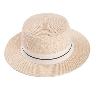 Wholesale ladies straw boater style hat with light natural colour scheme and ribbon band