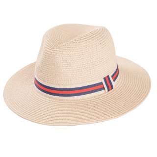 Wholesale adults unisex straw fedora with red and white ribbon band