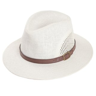 Wholesale adults unisex straw fedora hat with faux leather band
