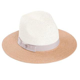 Wholesale ladies straw fedora hat with grey band
