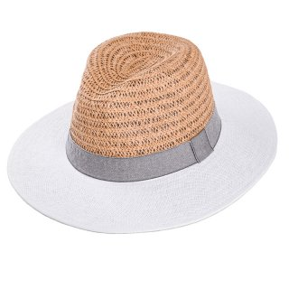 Wholesale ladies straw fedora hat with grey ribbon band and rim