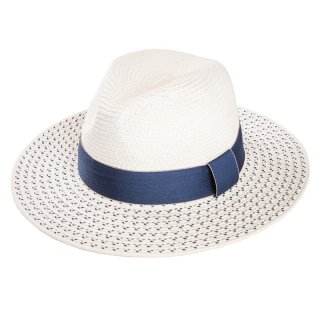 Wholesale white ladies straw fedora hat with detailed brim