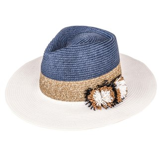Wholesale ladies straw fedora hat with straw pom pom detail and white brim
