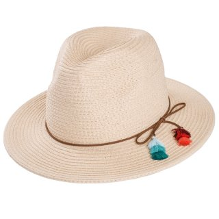 Wholesale ladies straw fedora hat with tassel band in natural colours