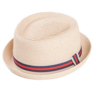 Wholesale adults unisex straw porkpie with red striped ribbon band