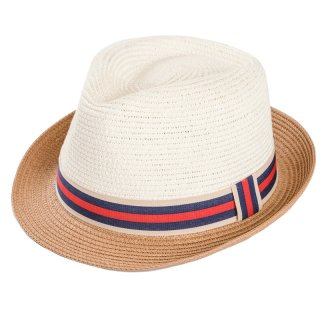 Wholesale adults unisex straw trilby hat with red striped ribbon band and brown band