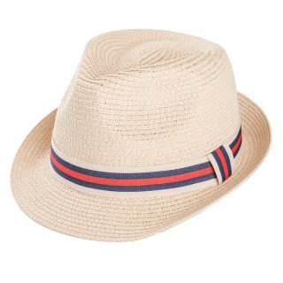 Wholesale adults unisex straw trilby with striped red ribbon band