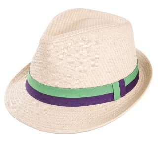 Wholesale mens straw trilby hat with green and purple ribbon band