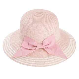Wholesale ladies wide brim straw hat with large pink bow